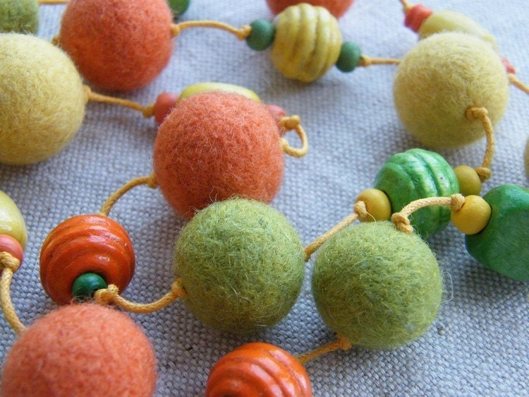Felt  necklace with wooden beads (merino wool) - orange, yellow, green