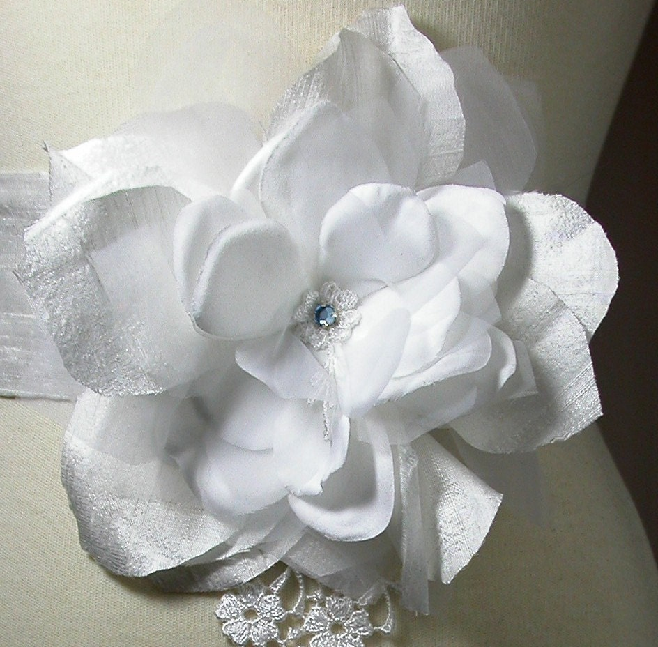 Wedding Sash White Silk Rose with Venice Lace by Lily by lilyfleur from etsy.com