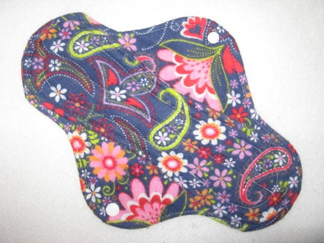 Blue floral 10 inch cloth menstrual pad