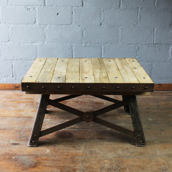 Industrial Coffee Table oak coffee table oak and steel coffee table reclaimed oak coffee table vintage oak coffee tableindustrial table