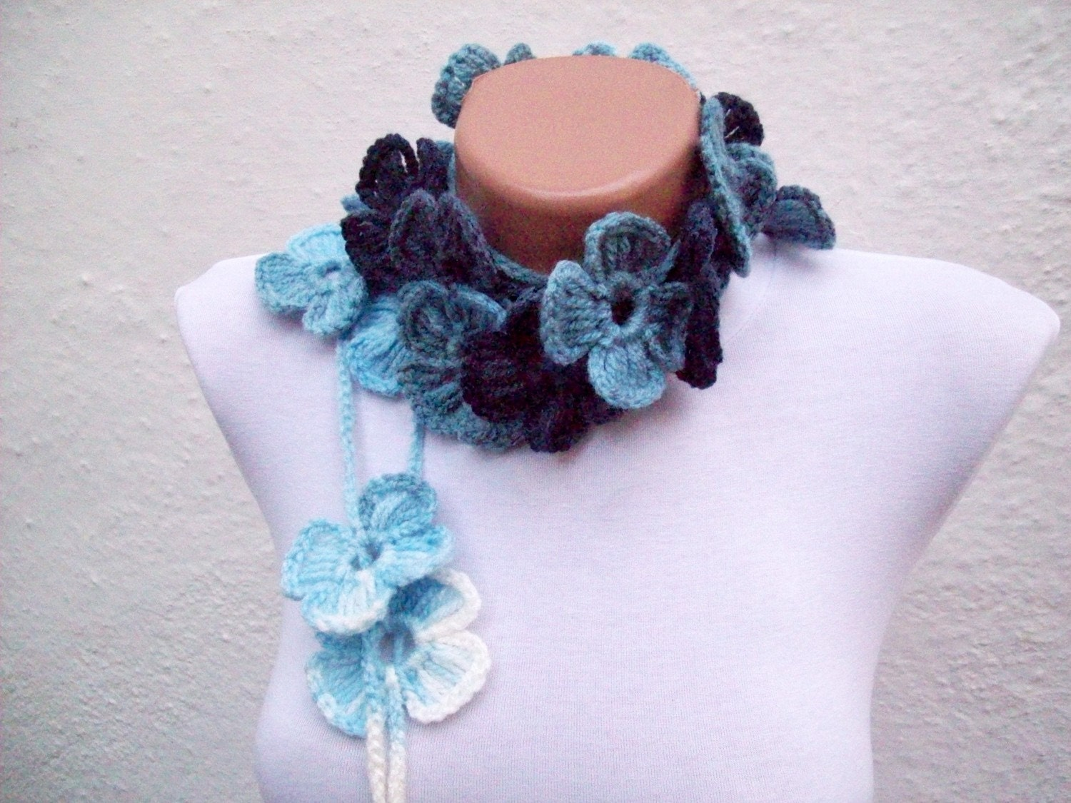 Hand crochet Lariat Scarf White Sky Blue  Navy Blue  Flower Lariat Scarf Colorful Variegated Long Necklace Winter Accessories
