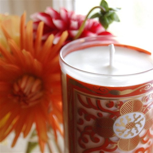 Vintage Georges Briard Glass Candle -- Pink Sugar