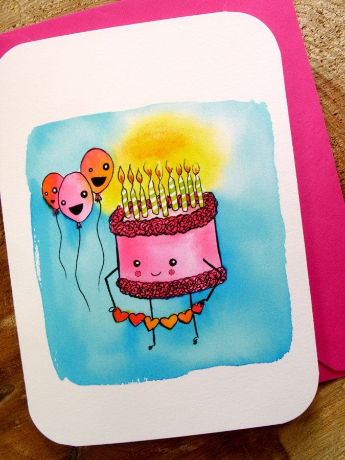 Birthday Cutie-Cake- Notecard