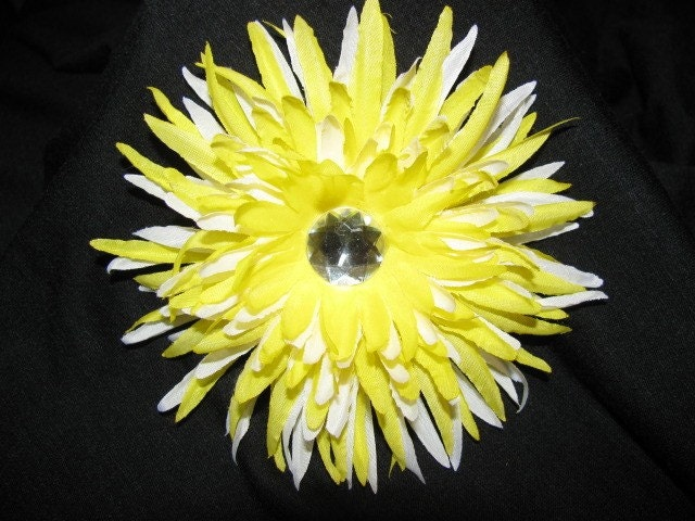 Yellow and White Layered Star Flower Hair Clip with Rhinestone OOAK