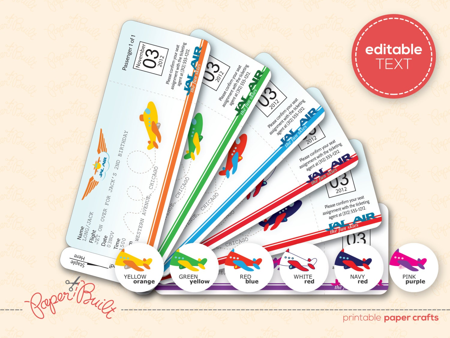 Airplane Ticket Invitations free lined paper to print