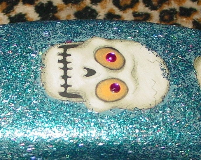 FUNKY skull recycled vintage dial phone by C.Reinke  lots of kitsch sparkle