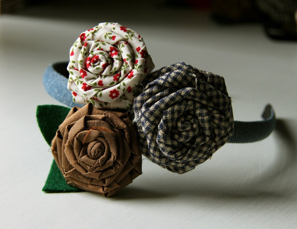 Ingrid - headband for girls with handmade fray roses