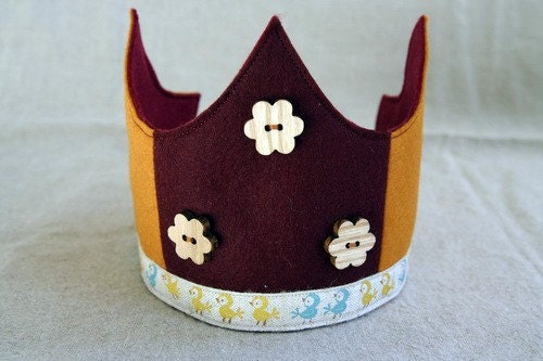 Wool Felt Crown - Flowers and Chicks