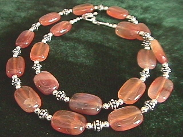 Natural Carnelian and Bali Silver Necklace 22 Inch Length