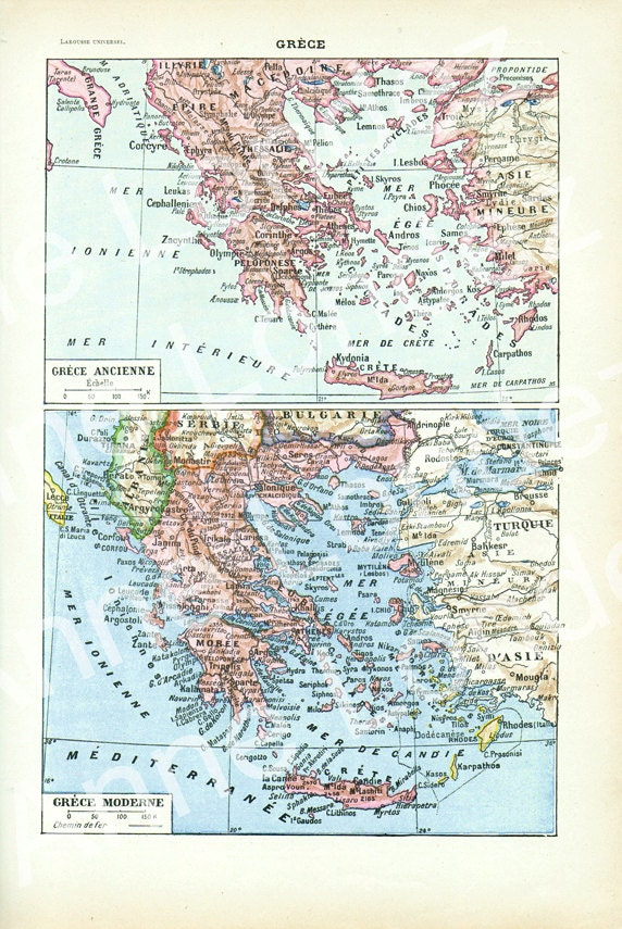 1922 Vintage Greece Map Vintage French Dictionary Page Antique