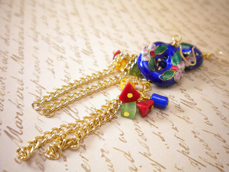 Blue Asian Gold Cloisonne Earrings