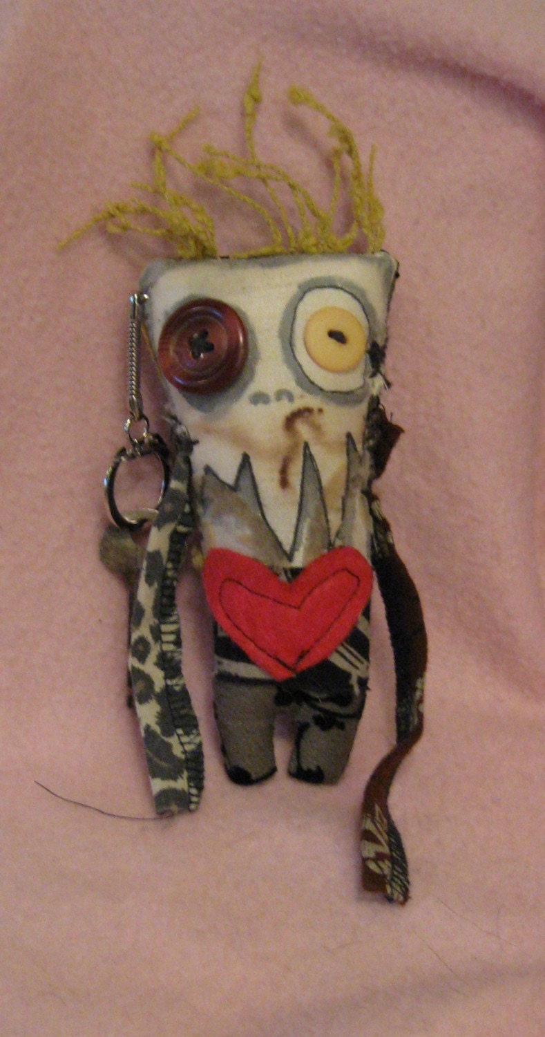 JESS a mini monster with heart vampire voodoo doll key fob made with recycled materials