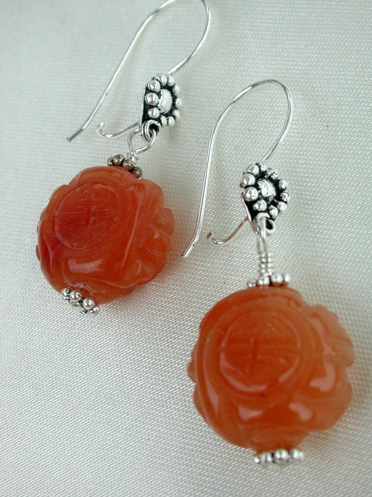 Asian Carved Orange Agate Dangle Earrings on by dbvictoria on Etsy from etsy.com
