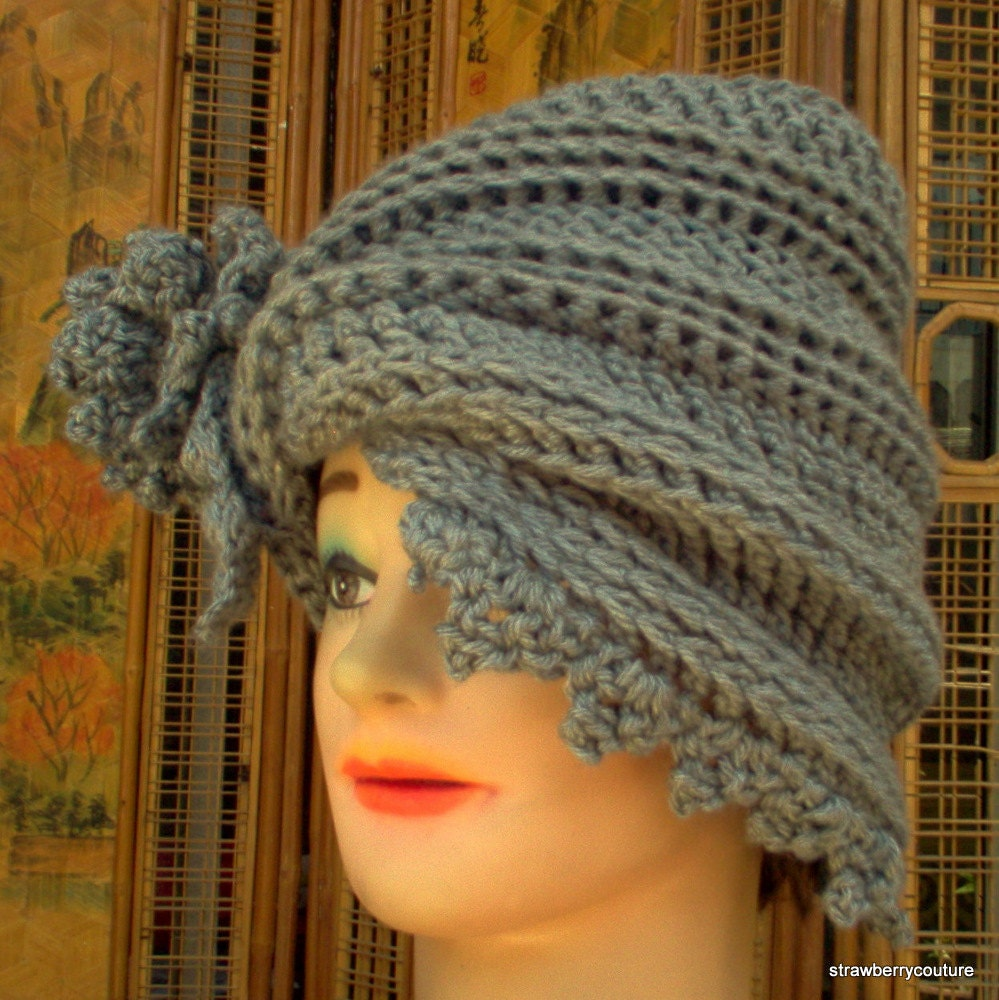 Twisted Cloche Hat in Gray Flower Brim by strawberrycouture