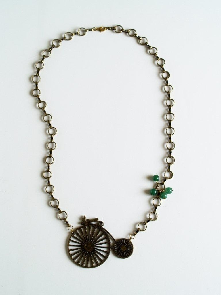 Antique Gold Bicycle Necklace