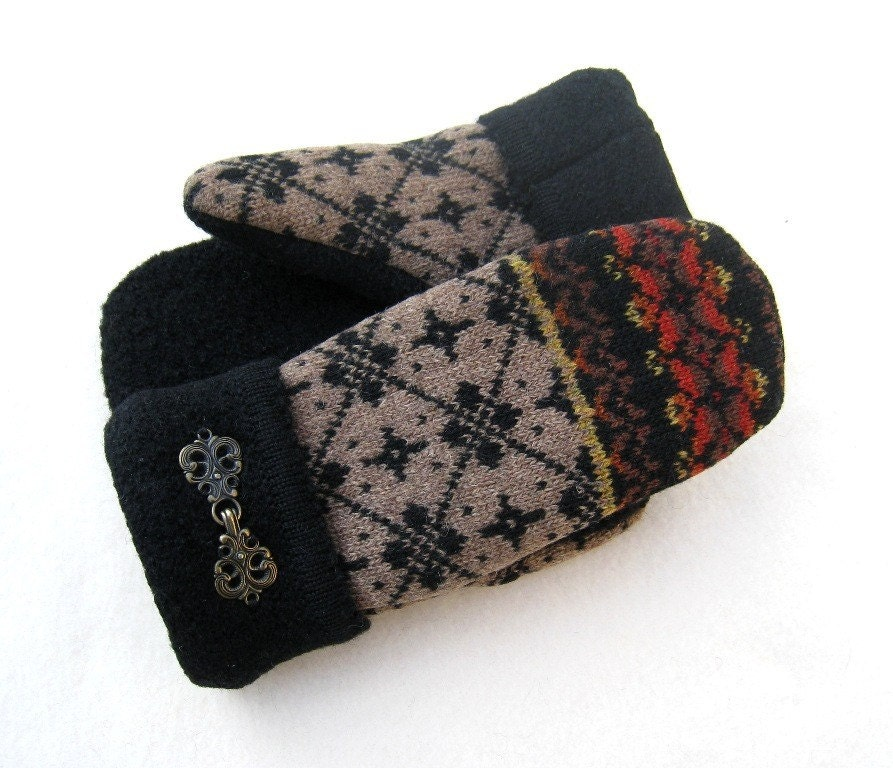 Felted Wool Sweater Mittens Fleece Lined Bronze with Black Diamonds