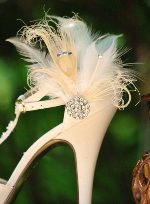 "Shoe clips Mr. Ivory Peacock ""Rhinestone Bride Bridal Couture Summer Autumn Bride Autumn Fashion Diva Bold Statement Edgy Burlesque Boudoir"