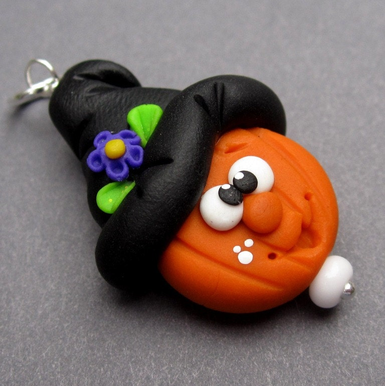 Halloween Witch Hat Pumpkin Polymer Clay Pendant Charm with Sterling Silver Jump Ring - TheDangleDiva