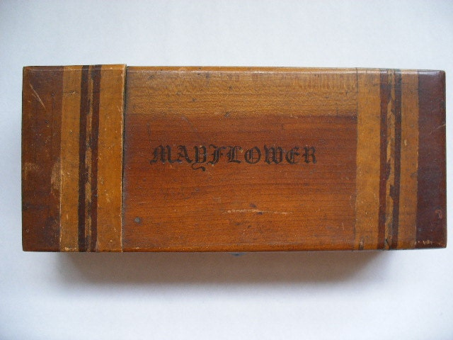 antique hinged box, lettered Mayflower on top of hinged box, for Mattson Rubber Company New York, inlaid decorative wood trim. - vintagestew2