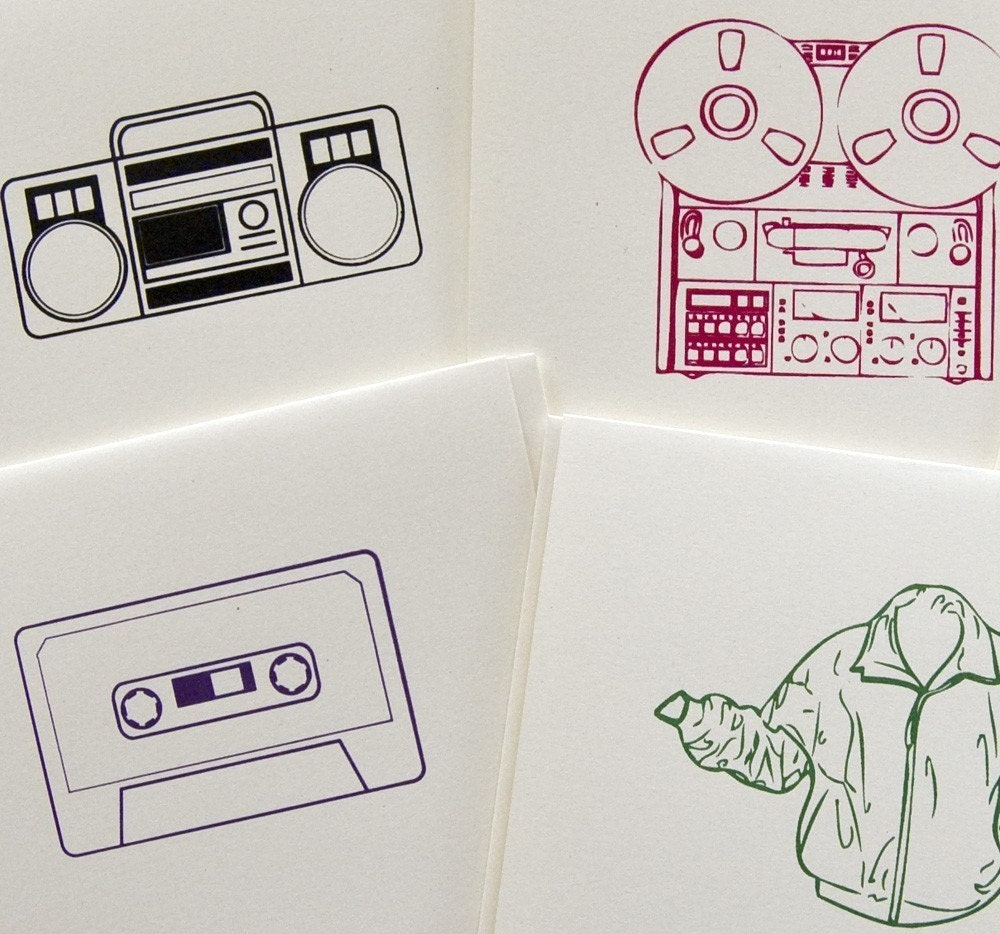 Screen-printed cards, Say Anything eighties theme