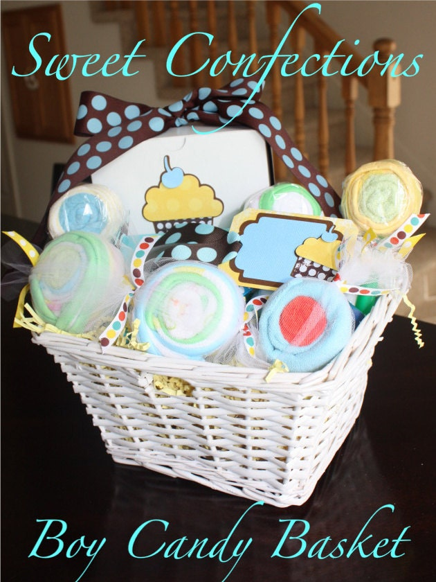 25% OFF SALE - Sweet Confections Candy Basket - Boy/Neutral - filled with 31 pieces of baby items