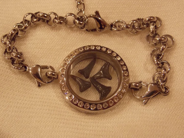 floating locket charm bracelet shark teeth by
