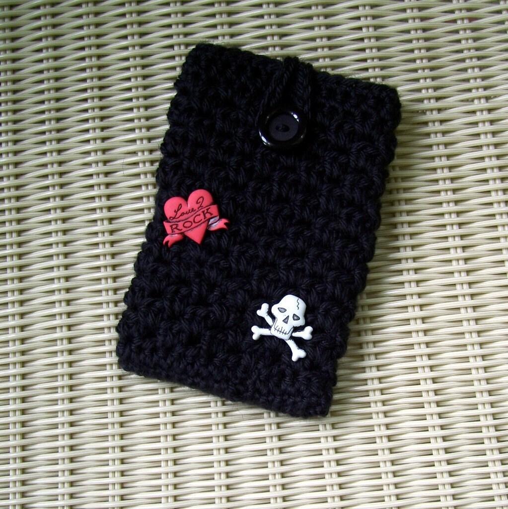 Iphone Case Crocheted Mp3, Camera, Skull, Heart