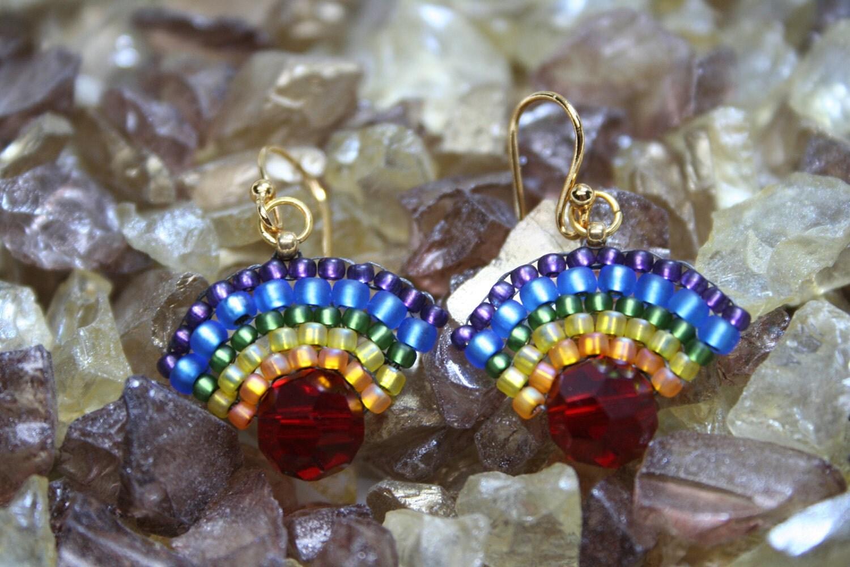 Rainbow Fan Seed Bead Earrings Multi Colored