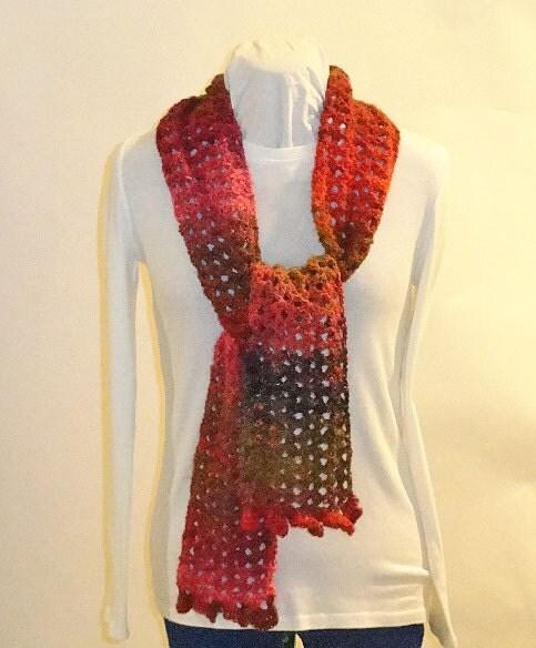 Crochet Pattern Lace Ruffle Scarf : Crochet Pattern Lace Scarf with Ruffle by KimberleesKorner