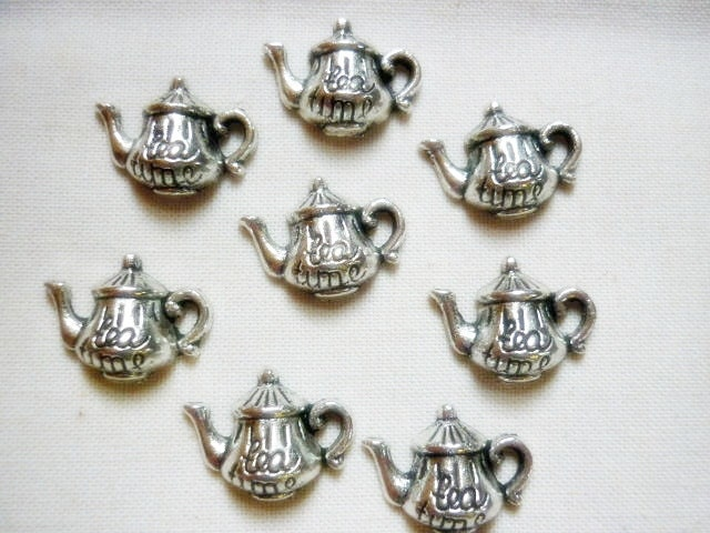 8 silver teapot charms 8 by greenbohemia on etsy