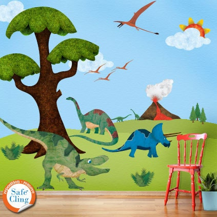 Dinosaur wall stickers decals for boys room wall by for Dinosaur wall mural