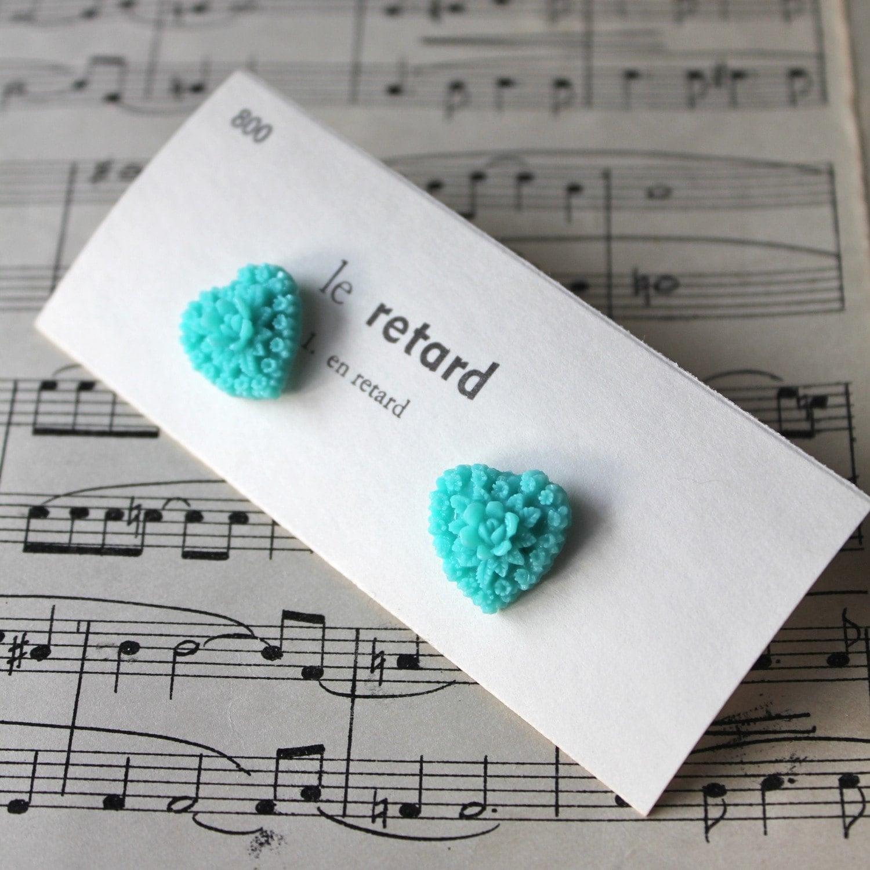 Romantic Garden Post Earrings - Turquoise - Nickel Free