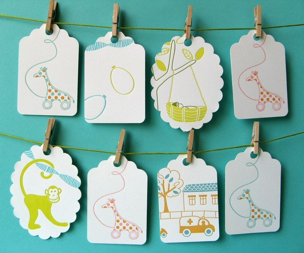 8 letterpress gift tags for birthdays or party favors - variety pack