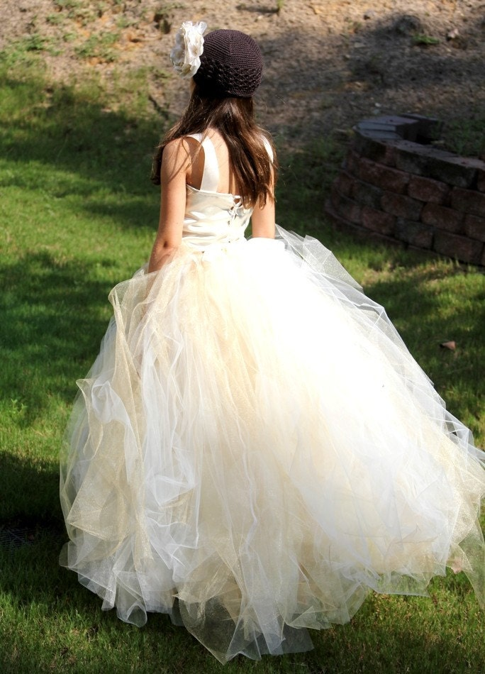 Tutu Dress, BREATHTAKING IVORY with a hint of GOLD - CHILD SIZE Flower Girl Tutu Skirt with Top and an option of a Detachable Train. Custom made for all ages.WEDDINGS and PHOTOGRAPHY