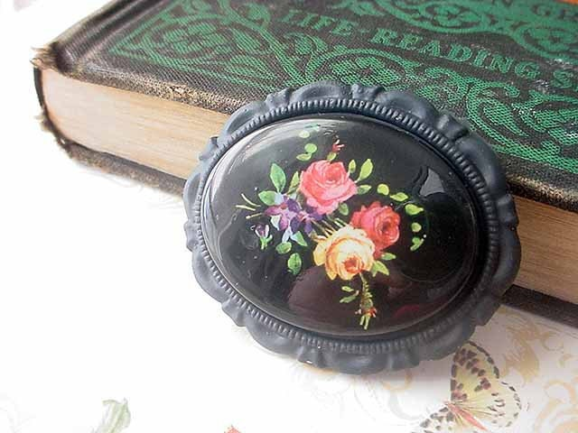 Black Floral Brooch Shabby Folk Rose Flowers Cameo Tole Gift for Mom Mother's Day Gift Box - MySelvagedLife
