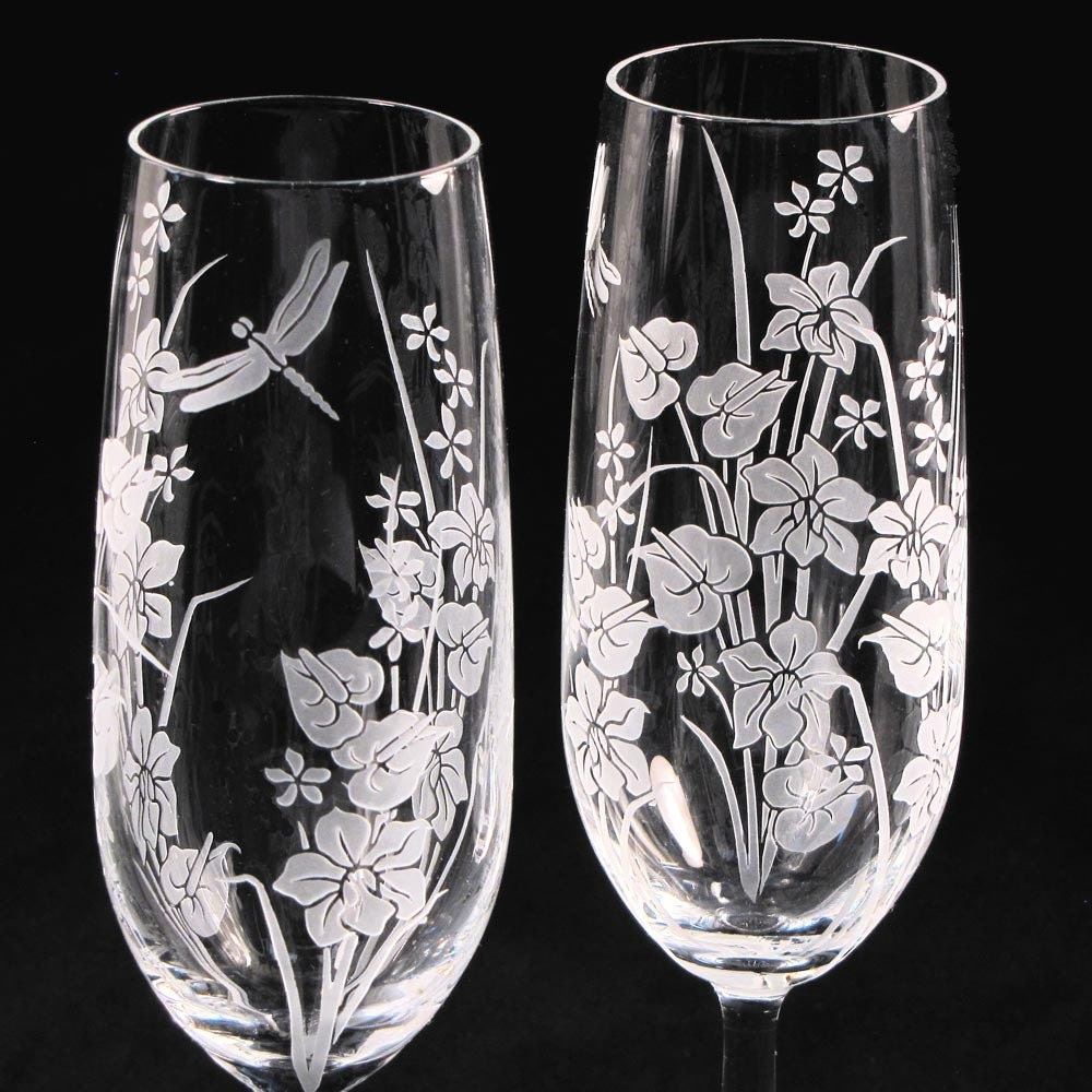 wedding champagne flutes fine crystal champagne glasses with tropical