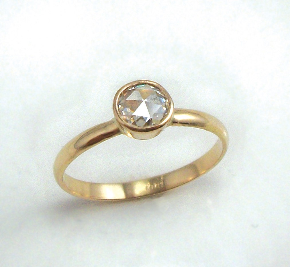Items similar to Rose Cut Moissanite Ring 14k Gold Simple Engagement Ring R
