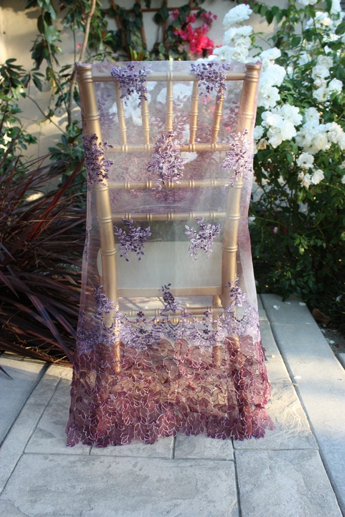 Wedding Chiavari Chair Covers, A Set for Bride and Groom, Purple Bead Work, Embroidery and dimensional leaves
