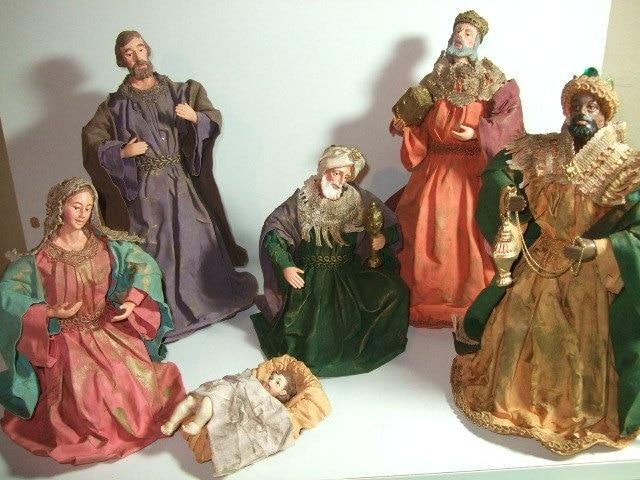 vintage paper mache nativity