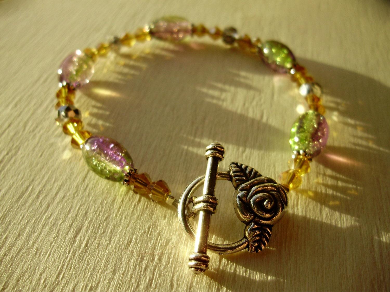 Beaded rose bracelet Swarovski bracelet Rainbow bracelet rose bracelet rainbow rose summer rose floral jewelry flower gift rose gift