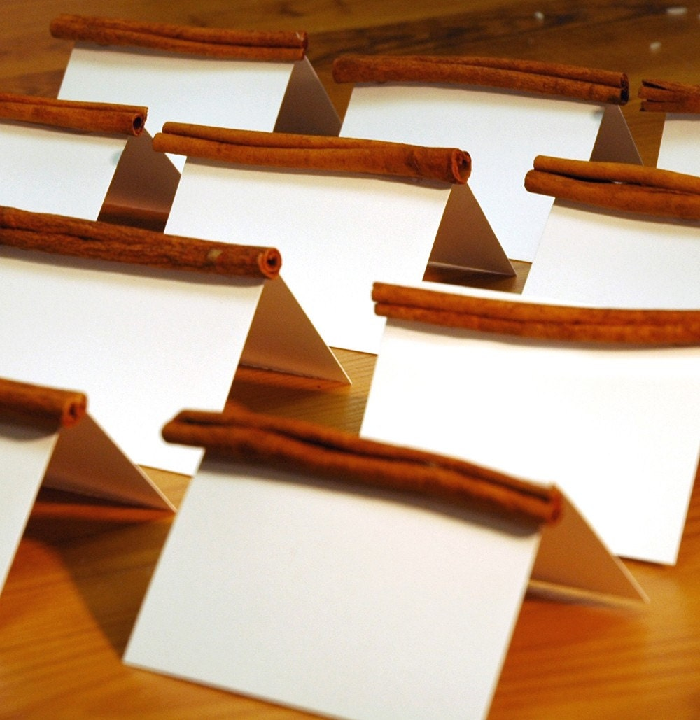 Set of 10 - Cinnamon Stick Place card Holders Rustic Wedding Party Place card