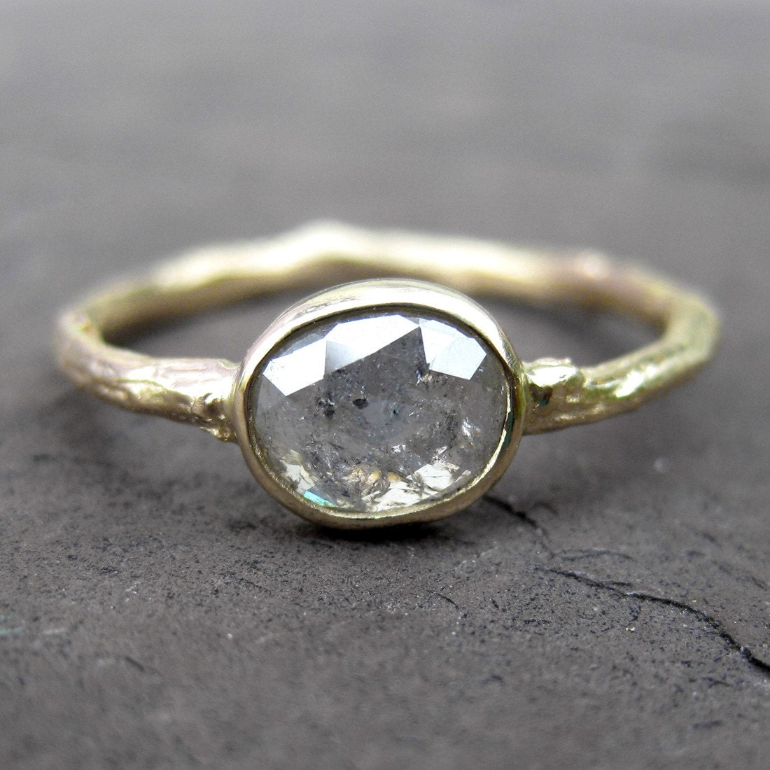 Reserved Rose Cut Gray Diamond Twig Ring in 14k by KristinCoffin