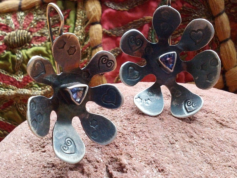 Sterling Silver Oxidized Tanzanite Earrings