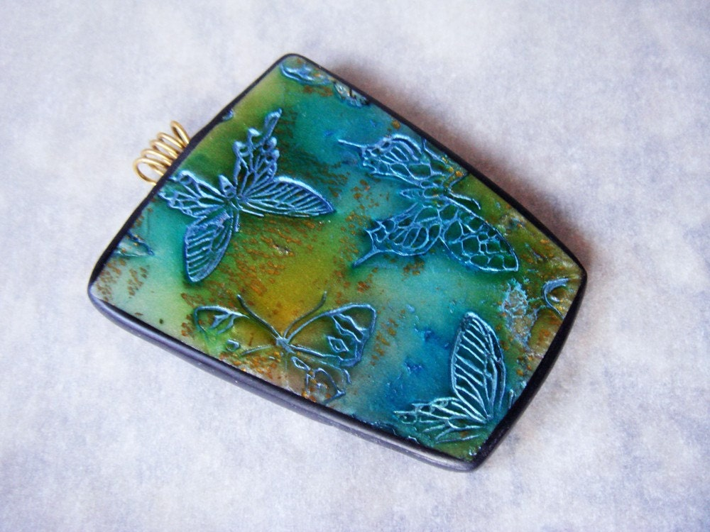 Handmade Distressed Butterfly Pendant