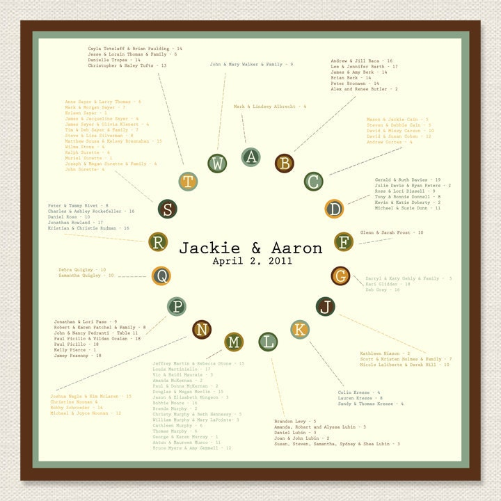 Wedding Seating Chart DIY Digital File Print Option Available