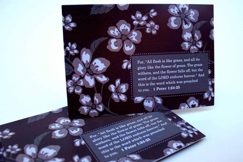 Etsygreetings handmade cards bible verse card scripture 1 bible verse card scripture 1 peter 124 25 set of 10 inspirational cards purple stopboris Image collections