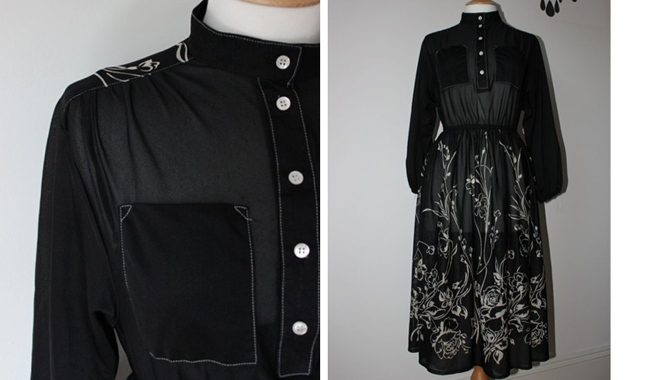 Vintage 40's style sheer black front buttoned with white patterned outline dress