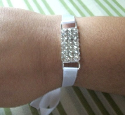 Crystal Rhinestone And White Ribbon Bridal/Special Occasion Bracelet