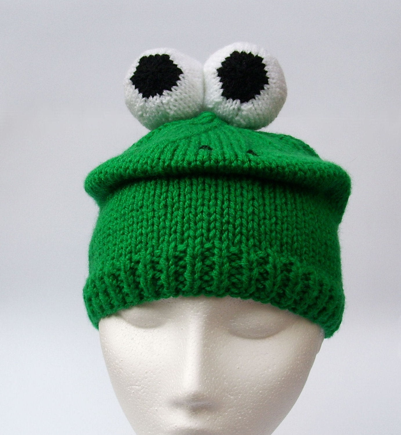Knit Pattern For Frog Hat : Knitted Frog Hat Animal beanie in Green with eyeballs by ...