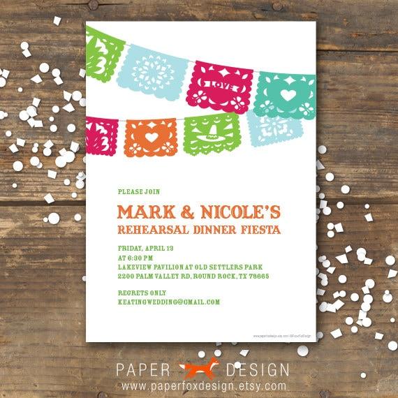 Rehearsal Dinner Invitation Fiesta Wedding DIY By PaperFoxDesign